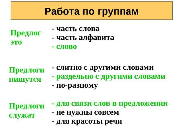 Работа по группам Предлог это - часть слова - часть алфавита - слово Предлоги...