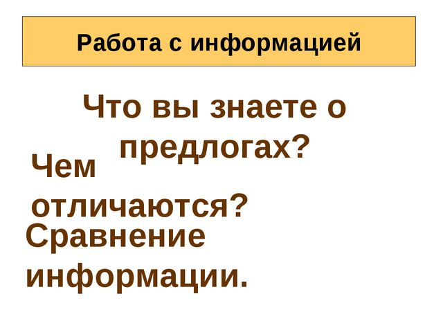 Работа с информацией Что вы знаете о предлогах? Чем отличаются? Сравнение инф...