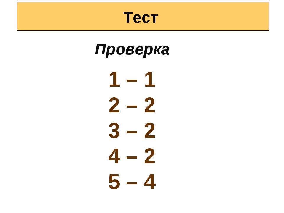Тест Проверка 1 – 1 2 – 2 3 – 2 4 – 2 5 – 4