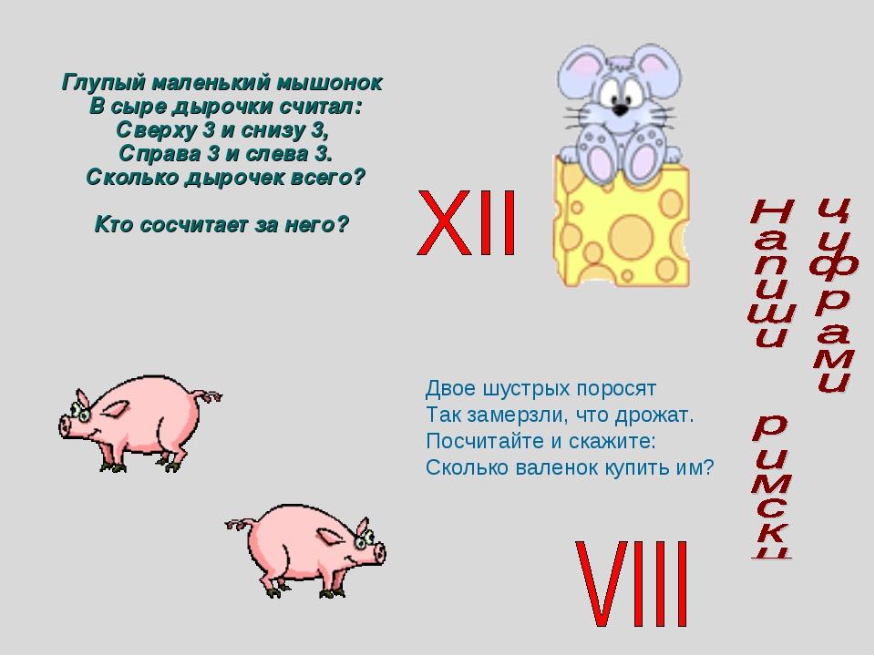 Глупый маленький мышонок В сыре дырочки считал: Сверху 3 и снизу 3, Справа 3...