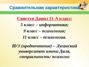 Сравнительная характеристика Свистун Данил 11-А класс: 5 класс – информатика;