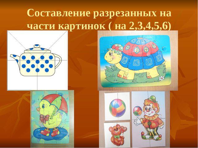 Составление разрезанных на части картинок ( на 2,3,4,5,6)