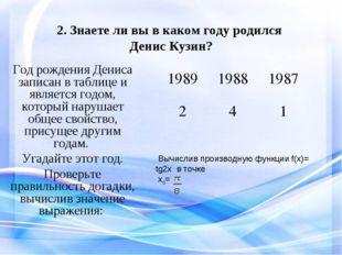 2. Знаете ли вы в каком году родился Денис Кузин? Год рождения Дениса записан