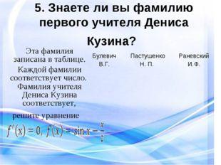 5. Знаете ли вы фамилию первого учителя Дениса Кузина? Эта фамилия записана в