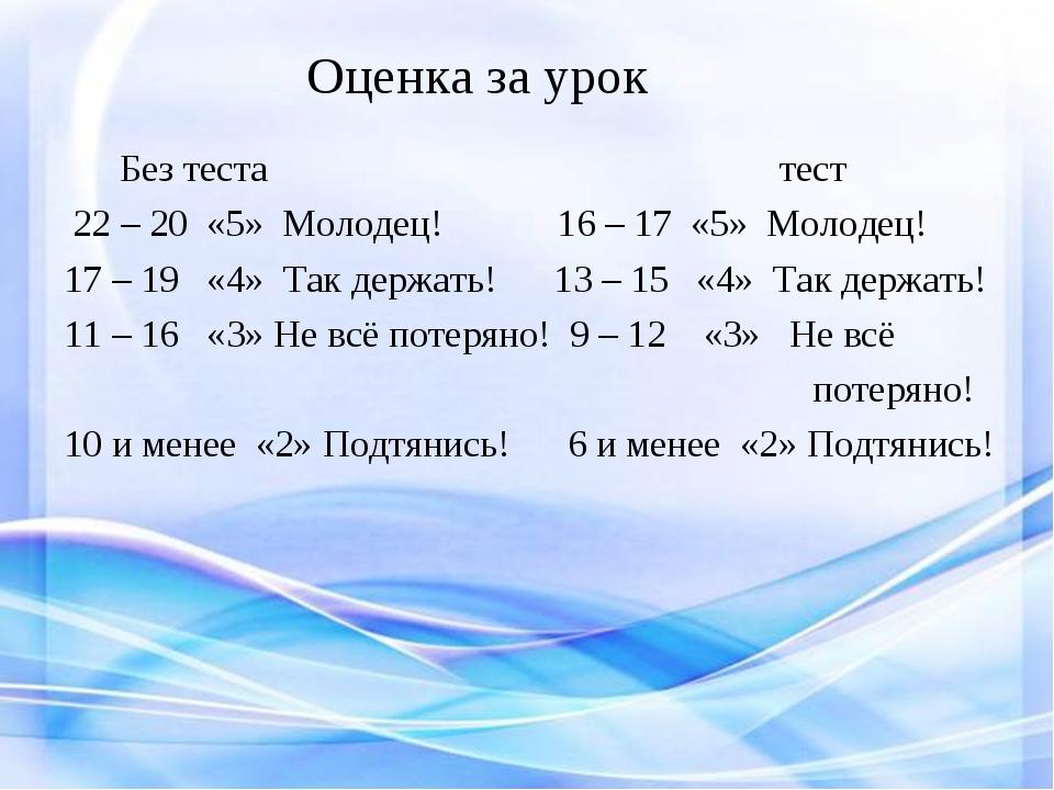 Без теста тест 22 – 20 «5» Молодец! 16 – 17 «5» Молодец! 17 – 19 «4» Так дер...
