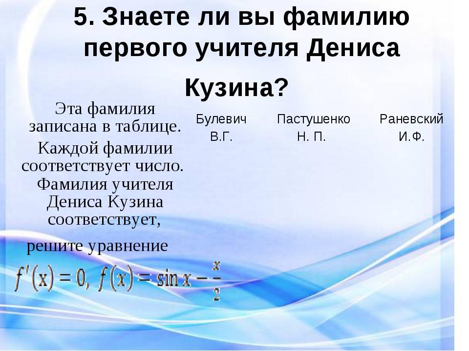 5. Знаете ли вы фамилию первого учителя Дениса Кузина? Эта фамилия записана в...