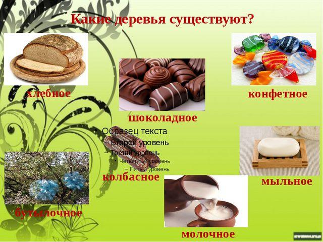 Какие деревья существуют? хлебное конфетное шоколадное мыльное бутылочное кол...