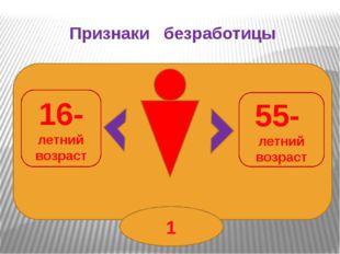 Признаки безработицы 16- летний возраст 55- летний возраст 1