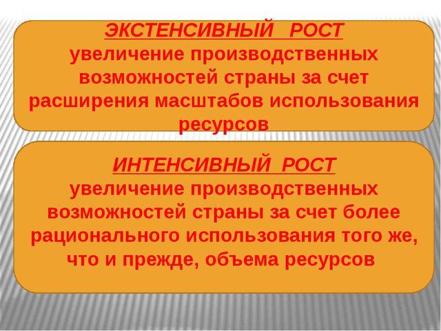 ЭКСТЕНСИВНЫЙ РОСТ увеличение производственных возможностей страны за счет ра...