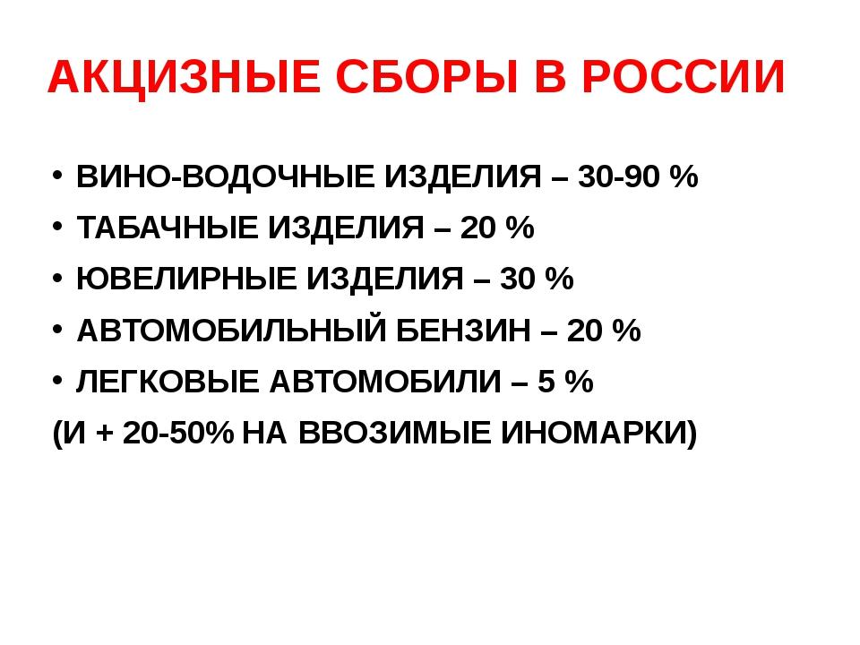 АКЦИЗНЫЕ СБОРЫ В РОССИИ ВИНО-ВОДОЧНЫЕ ИЗДЕЛИЯ – 30-90 % ТАБАЧНЫЕ ИЗДЕЛИЯ – 20...