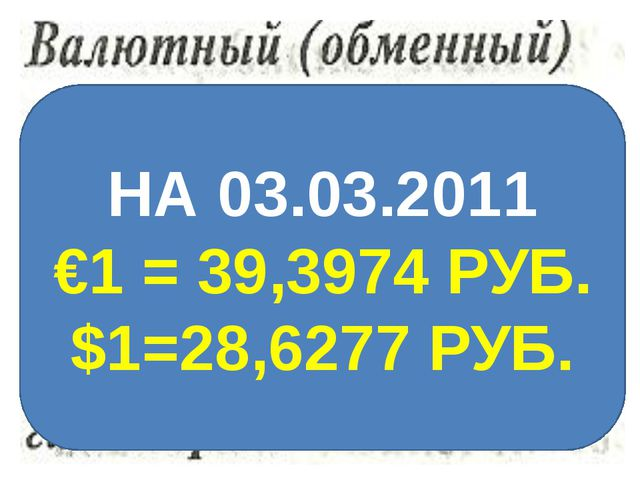 НА 03.03.2011 €1 = 39,3974 РУБ. $1=28,6277 РУБ.
