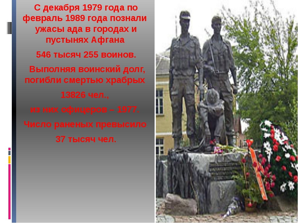 С декабря 1979 года по февраль 1989 года познали ужасы ада в городах и пусты...
