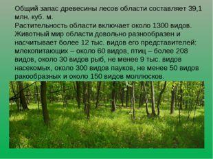 Общий запас древесины лесов области составляет 39,1 млн. куб. м. Растительнос