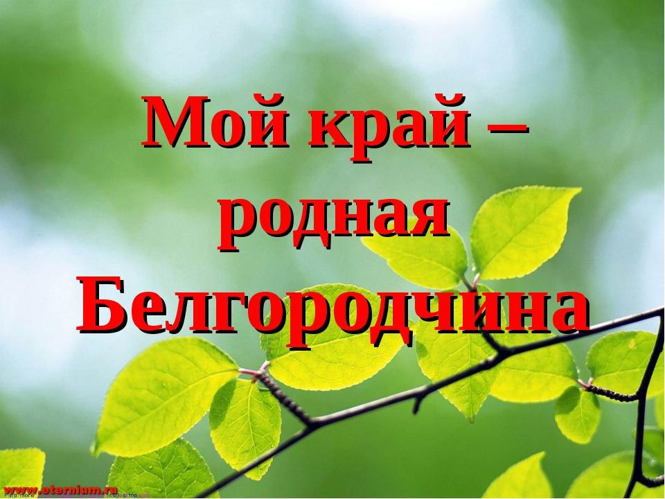 Мой край – родная Белгородчина