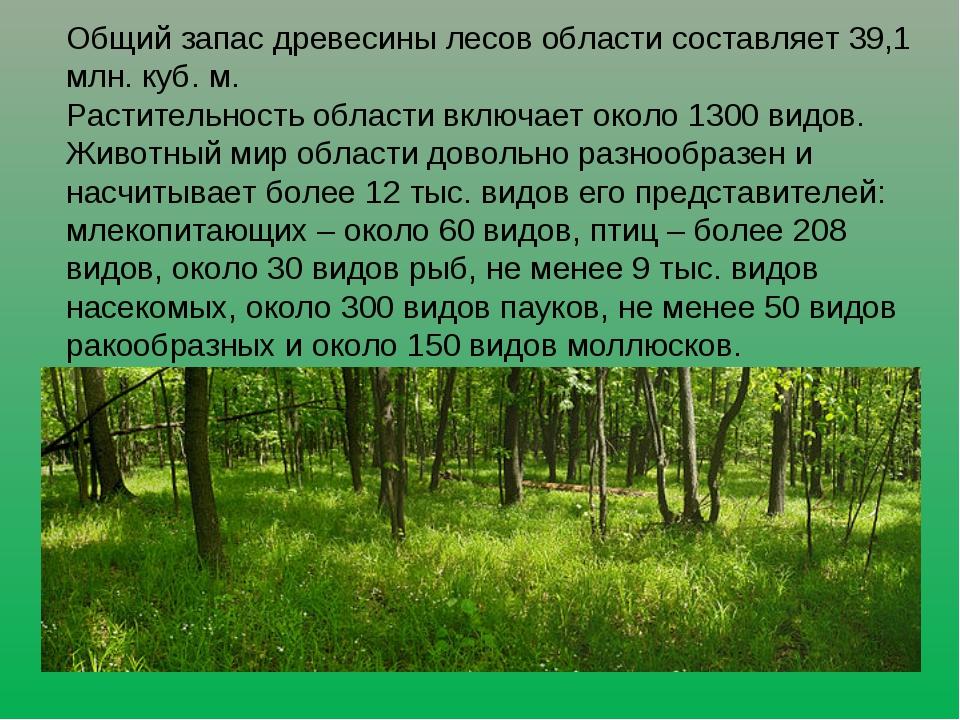 Общий запас древесины лесов области составляет 39,1 млн. куб. м. Растительнос...