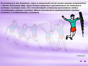 Выполнив все эти движения, игрок в наивысшей точке своего прыжка встречается