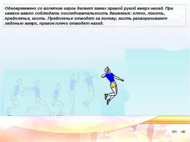 Одновременно со взлетом игрок делает замах правой рукой вверх-назад. При зама...