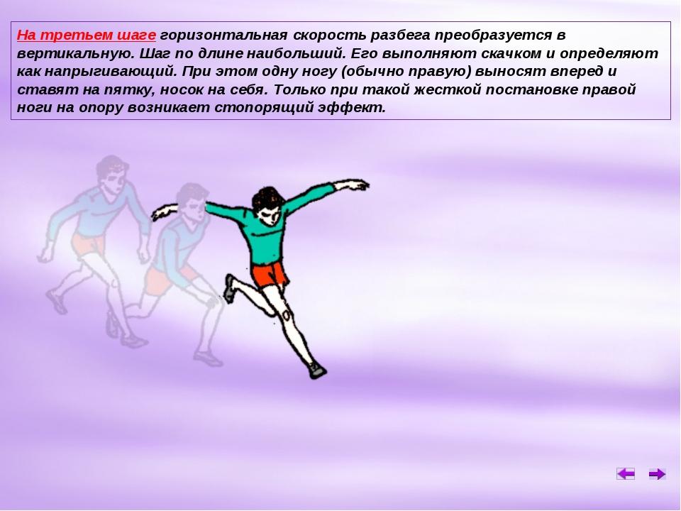 На третьем шаге горизонтальная скорость разбега преобразуется в вертикальную....