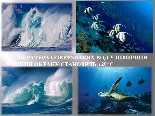 ТЕМПЕРАТУРА ПОВЕРХНЕВИХ ВОД У ПІВНІЧНІЙ ЧАСТИНІ ОКЕАНУ СТАНОВИТЬ +29*С