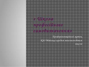 « Школа професійного самовизначення» Профорієнтаційний гурток КЗО Майська сер