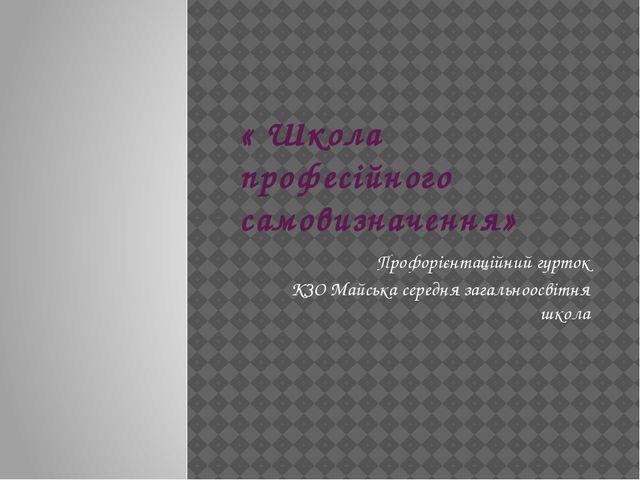 « Школа професійного самовизначення» Профорієнтаційний гурток КЗО Майська сер...