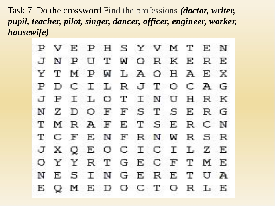 Task 7 Do the crossword Find the professions (doctor, writer, pupil, teacher...