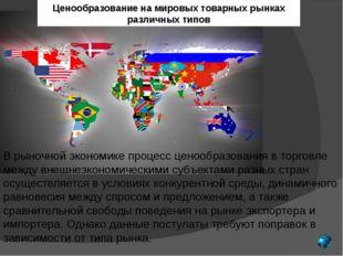 Ценообразование на мировыхтоварных рынках различных типов В рыночной экономи