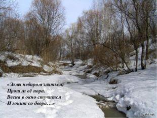 «Зима недаром злиться, Прошла её пора. Весна в окно стучится И гонит со двора…»