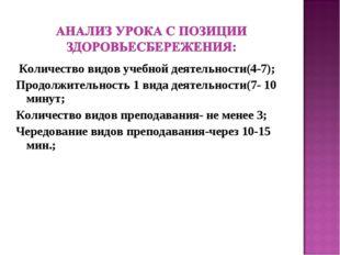 Количество видов учебной деятельности(4-7); Продолжительность 1 вида деятель