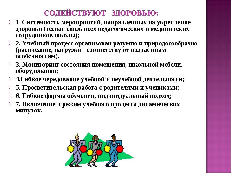 1. Системность мероприятий, направленных на укрепление здоровья (тесная связь...