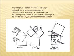 Характерный чертеж теоремы Пифагора, который ныне иногда превращается школьни