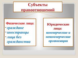 Субъекты правоотношений Юридические лица:: коммерческие и некоммерческие орг