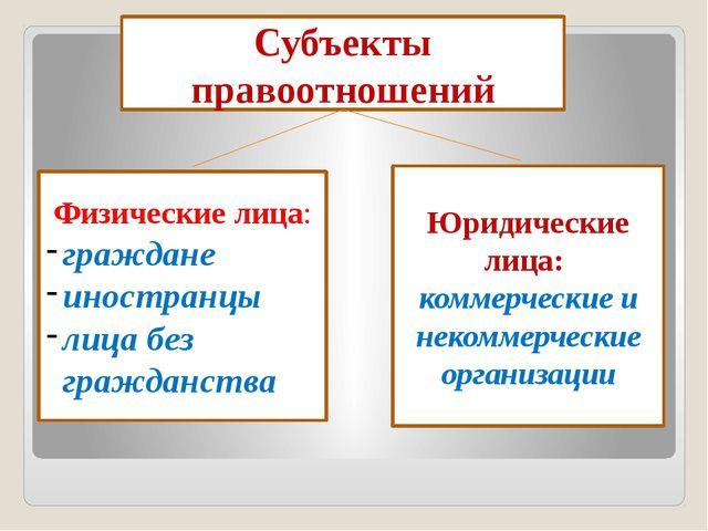 Субъекты правоотношений Юридические лица:: коммерческие и некоммерческие орг...