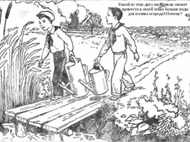 Какой из этих двух мальчиков сможет принести в своей лейке больше воды для по...