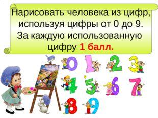 Нарисовать человека из цифр, используя цифры от 0 до 9. За каждую использован
