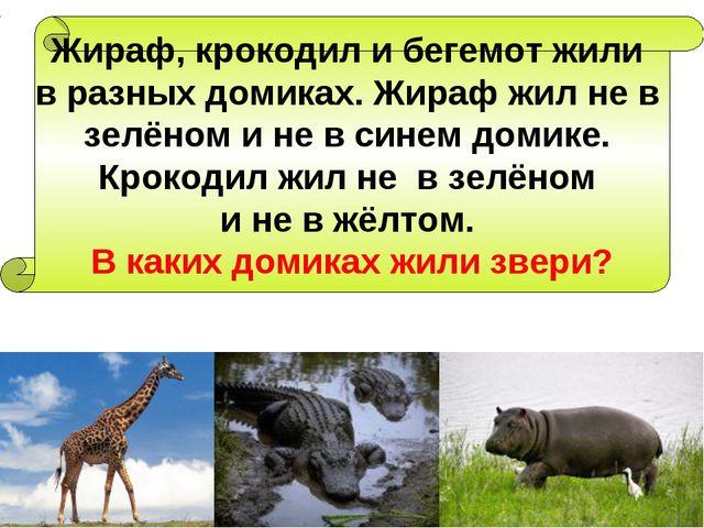 Жираф, крокодил и бегемот жили в разных домиках. Жираф жил не в зелёном и не...