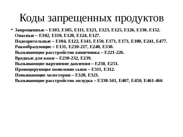 Коды запрещенных продуктов Запрещенные – Е103, Е105, Е111, Е121, Е123, Е125,...