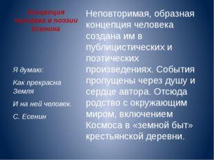 Концепция человека в поэзии Есенина Неповторимая, образная концепция человека