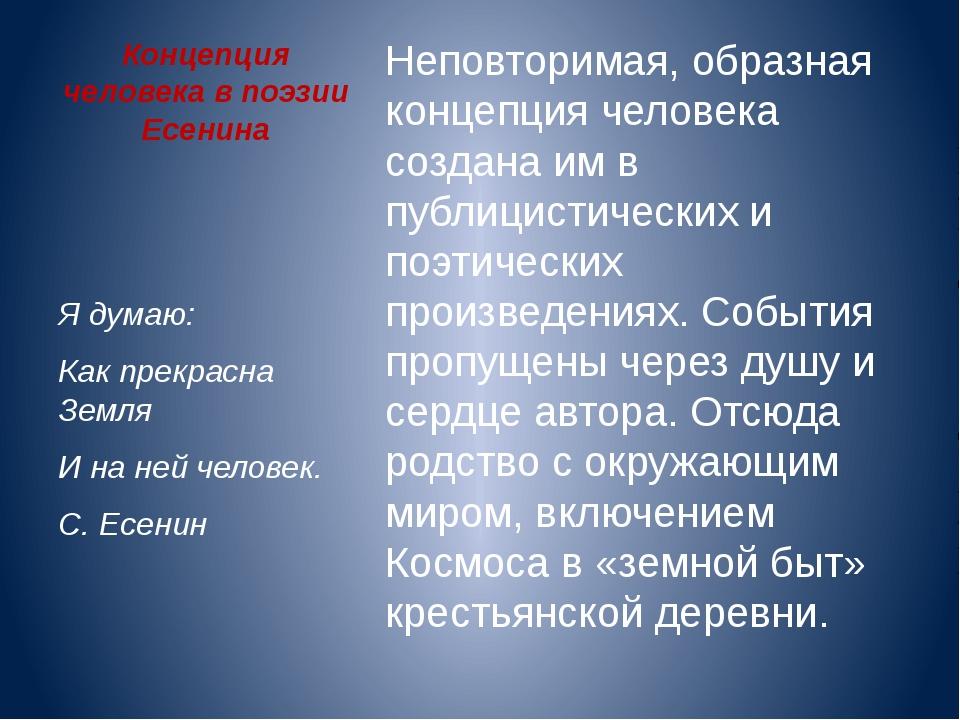 Концепция человека в поэзии Есенина Неповторимая, образная концепция человека...