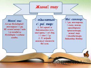 Жинақтау Мазмұны: Алған білімдерінің жоспарын құру, Мәселені шешу үшін әр са