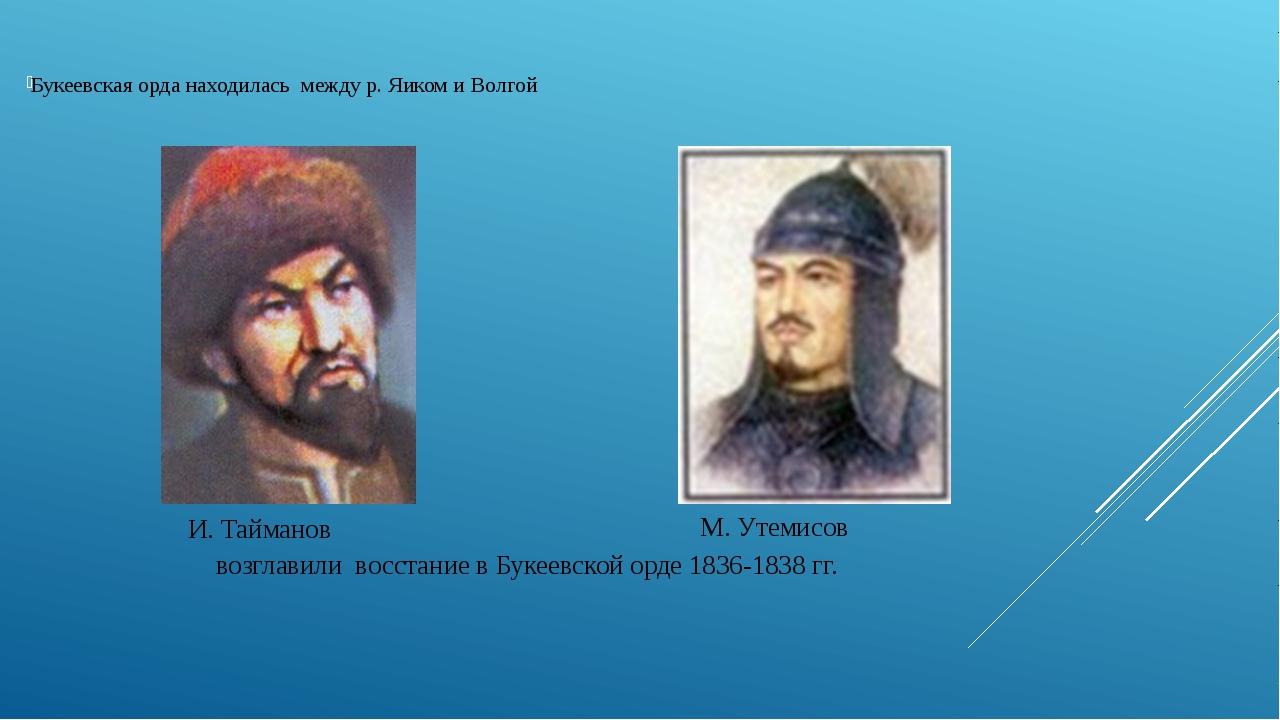 Букеевская орда находилась между р. Яиком и Волгой возглавили восстание в Бу...