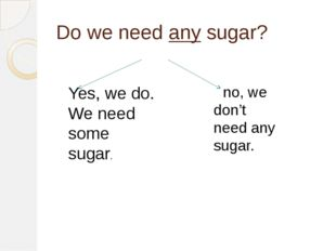 Do we need any sugar? no, we don't need any sugar. Yes, we do. We need some s