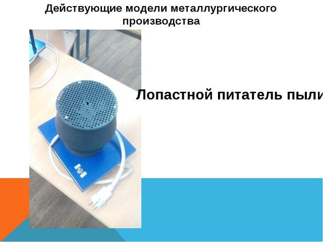 Действующие модели металлургического производства Лопастной питатель пыли