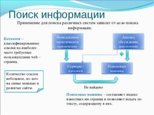 Поиск информации Применение для поиска различных систем зависит от цели поиск