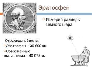 Эратосфен Измерил размеры земного шара. Окружность Земли: Эратосфен - 39 690