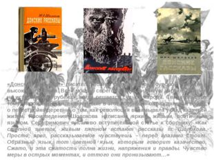 «Донские рассказы» писателя полны светлой веры, суровой правды и высокого тра