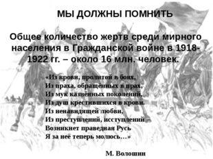 МЫ ДОЛЖНЫ ПОМНИТЬ Общее количество жертв среди мирного населения в Гражданск