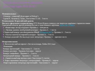 Результаты участия в конкурсах за 2 полугодие 2012-2013 г. Муниципальных: 1.К