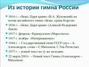 Из истории гимна России 1814 г.- «Боже, Царя храни» (В.А. Жуковский) на мотив