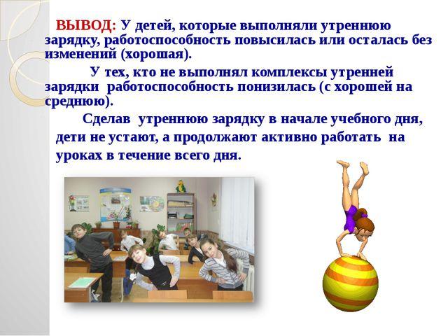 ВЫВОД: У детей, которые выполняли утреннюю зарядку, работоспособность повыси...